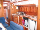 Lots of room for cooking great meals.  Notice the stainless steel grab rail running the length of the galley.  It