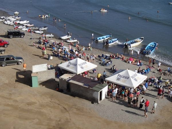 An overhead view of the turtle bay beach party.