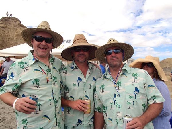 Dave, Mark & Phil in uniform at the beach party.