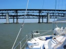 Lots of bridges as we head up the Delta.  The middle, low railway bridge was just a few feet clear of our mast.