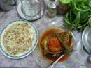 Stuffed aubegine dinner in Aleppo