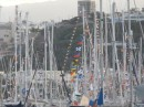 A sea of flags and masts belonging to some of the 220 ARC yachts before thye departed across the Atlantic.