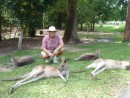 Allan with lazy kangaroos at the Australia Zoo.