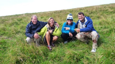 Gloria, Alison and Allan pointing to the culprit (Michael) who led us into the cow field above the beach ...