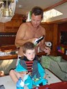 Dad cutting Cardens hair.