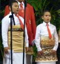 Young choirboys in more traditional Tongan attire