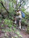 Using ropes on the really steep descent of our hike on Ua Pou May 2015