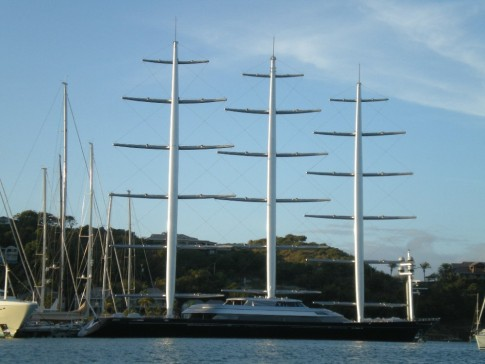 Maltese Falcon...super yacht with big heart helping the needy here in Antigua.  They need a big dock!