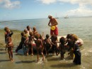 Jim is always a bit of a Pied Piper with village kids Vanuatu 2010