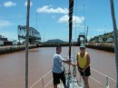 TJ and Aunt Katie handle bow lines on the Panama Canal transit 2005