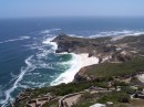 A view of Cape Point from a lighthouse nearby