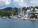 The marina in Marigot Bay