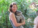 Eileen with Elvis.  He did smell.  The male koalas emit a scent from their chest to mark their territory.