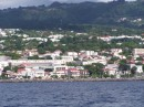 View of Basse-Terre, a major town on Guadeloupe, from At Last sailing to Les Saintes