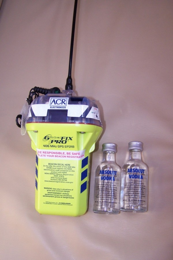 Two important items to have in your ditch bag, an EPIRB (Emergency Position Indicating Radio Beacon) to contact Search and Rescue if you have to abandon ship, and two shots of vodka.  The vodka serves as the back up to the EPIRB if it does not work.  Vodka was a thoughtful Christmas gift form Janet