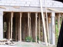 Many of the homes have bamboo holding their foundations up which are built on the slope of the island