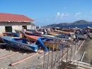 A fleet of fishing boats in the fishing village