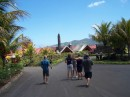 The clan approaches the rum factory for a tasting and lunch