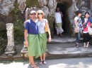 Mark and I in our sarongs at the first temple - Goa Gajah Temple