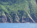 Imagine picking up a mooring here.  This is the only mooring field in Saba, a total of 4 balls.