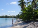 Wendy on her own beach in Fakarava