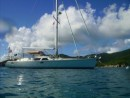 BE at moring in Jost: Berkeley East at mooring in Jost Van dyke British Virgin Island