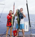 Big Mahi m: Three strikes in a rain squall. We only landed two Mahi Mahi