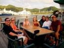 Tim, Teresa, Moriah, Allyisa, Mike, Linda and Larry hanging out at the St Maarten yacht club
