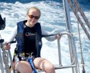 Allyisa enjoying the ride through 7 - 9 foot seas on the sail from St Maarten to St Barth