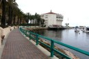 Seawall along the harbor and the Casino which is a historic building going back to the 1920