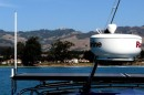 At anchor in San Simeon.  Small Village by the water is overllooked by the castle high on the hill.