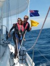 NZ courtesy glag and Q flag go up as we approach the coast.
