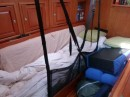 Our sleeping arrangements  -  lee cloth with cushions for extra support!