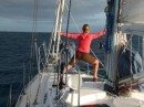 Beth enjoying yoga on the foredeck as we depart from Nuku