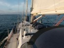 Sun is up and lighting the sails as we enter the Bay of islands.