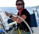 Kyle at the helm when the weather was warm!