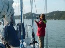 Beth looks for the Opua marina and customs dock.