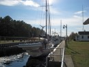 Voyageur, raised approximately 10 feet, prepares to exit the lock.