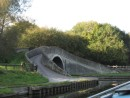 Comparison of the UK canal system with our interstate highway system reveals other similarities.  Like our interstates, the canals are completely interconnected by a series of junctions. Thus, all of the over 2,000 miles of canals are accessible to narrowboaters.  Here, the towpath crosses a bridge marking the intersection of Shropshire Union and Staffordshire & Worcestershire canals.