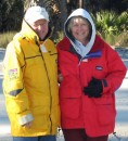 Bobby and Starr huddle in the cold for a picture on the beach at Hunting Island State Park.