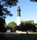 The historic Hunting Island lighthouse was originally constructed in 1859 and rebuilt in 1875 after being destroyed during the Civil War.
