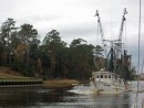 Near Myrtle Beach, a shrimper passes us heading North.