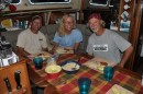 Liz and Chris from S/V Espiritu, San Diego, enjoy a Mahi Mahi Thanksgiving dinner with us.