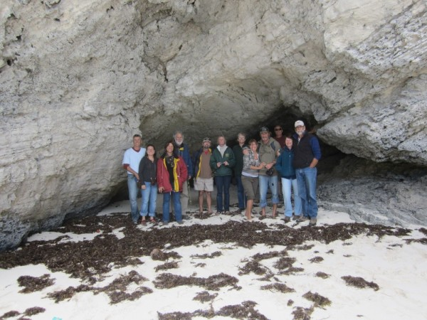 The group in the cave at Cave Beach.
