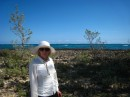 Susan with the Atlantic in the background..No Name Cay. Abaco, Bahamas 2-22-12
