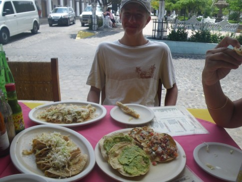 The incredible free food at our table in Comala, that came with the beers.