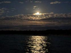 Full moon, just before dawn, Cistern Cay