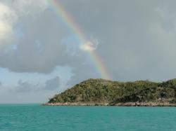 One end of a full rainbow, Hawksbill Cay