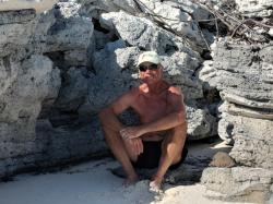 Hiding from me on the beach, Shroud Cay