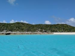 View from our anchorage, Hawksbill Cay